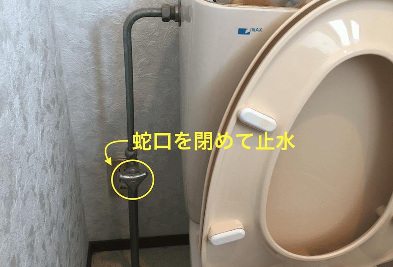 元栓の蛇口をひねって止水する
